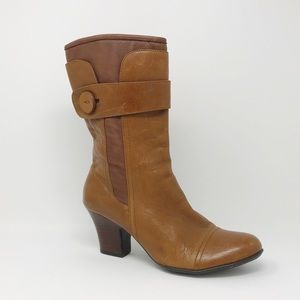 Born Size 11 Brown Leather Mid-Calf Heeled Boot